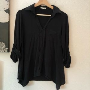 Anthropologie Pleione Button Down, Black Sz S